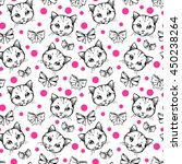 seamless pattern with cats and... | Shutterstock .eps vector #450238264