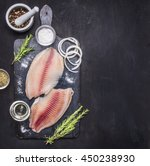 preparation of raw tilapia... | Shutterstock . vector #450238930