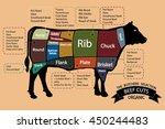 american cuts of beef meat.... | Shutterstock .eps vector #450244483