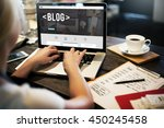 blog blogging homepage social... | Shutterstock . vector #450245458
