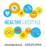 healthy living flat vector... | Shutterstock .eps vector #450251944