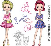 cute beautiful fashion girls in ... | Shutterstock .eps vector #450265804