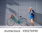 lifestyle and technology. young ... | Shutterstock . vector #450276940