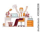 alarmed  yelling business man... | Shutterstock .eps vector #450288208