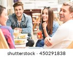 happy friends having lunch in... | Shutterstock . vector #450291838