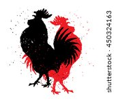 red and black roosters. two... | Shutterstock .eps vector #450324163
