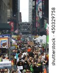 Small photo of NEW YORK CITY - JULY 9 2016: Several hundred activists gathered for a rally & march in Times Square to protest alleged police brutality in the deaths of several African-American men.