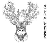 amazing deer head  in exquisite ... | Shutterstock .eps vector #450344458