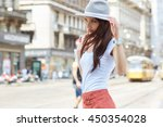 young beautiful woman with... | Shutterstock . vector #450354028
