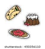 set of various food patch... | Shutterstock .eps vector #450356110