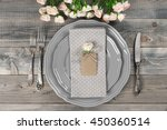 romantic table setting in...   Shutterstock . vector #450360514