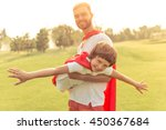 handsome young dad and his cute ... | Shutterstock . vector #450367684