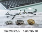 workplace with coins  documents ... | Shutterstock . vector #450390940