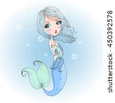 hand drawn cute little mermaid...   Shutterstock .eps vector #450392578