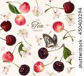 vector cherry tea seamless... | Shutterstock .eps vector #450403294