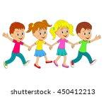 kids boys and girls run  hand...   Shutterstock .eps vector #450412213