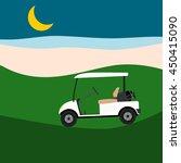 White Empty Golf Cart On Golf...