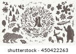 Stock vector handsketched elements of northern forest hand drawn nordic set vector collection of animals 450422263