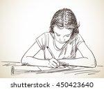 elementary schoolgirl writing... | Shutterstock .eps vector #450423640