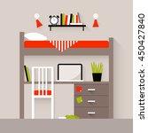 Stock vector vector illustration of a bedroom flat design illustration 450427840