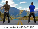 two young men  standing in the... | Shutterstock . vector #450431938