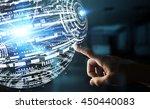 businessman in office touching... | Shutterstock . vector #450440083
