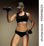 strong fitness woman... | Shutterstock . vector #450448624