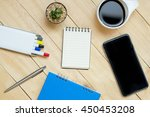 office leather desk table with...   Shutterstock . vector #450453208