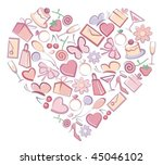 images romantic symbols in form ... | Shutterstock .eps vector #45046102