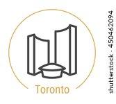 Stock vector toronto canada city hall outline icon with caption toronto city logo landmark vector symbol 450462094