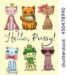 set of stylish cats. vector...   Shutterstock .eps vector #450478990
