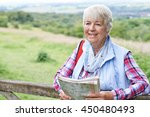 senior woman hiking in... | Shutterstock . vector #450480493