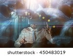 big fish swimming in a tank... | Shutterstock . vector #450483019
