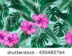 tropical flowers  palm leaves ... | Shutterstock .eps vector #450485764