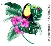toucan  tropical flowers  palm... | Shutterstock .eps vector #450486760