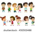 pupils with school backpacks.... | Shutterstock .eps vector #450503488