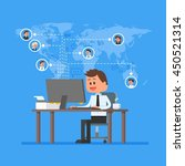 remote team working concept.... | Shutterstock . vector #450521314