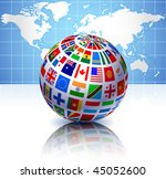 flags globe with world map... | Shutterstock .eps vector #45052600