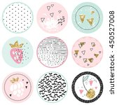 shabby chic circle tags | Shutterstock .eps vector #450527008