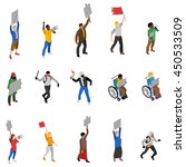 protest march rally and static... | Shutterstock .eps vector #450533509