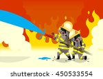 two fireman extinguish fire... | Shutterstock .eps vector #450533554