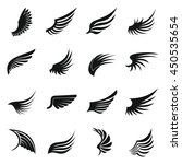 Wing icons set in simple ctyle. Birds and angel wings set collection vector illustration. Phoenix set