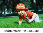 happy and smiling year old baby ... | Shutterstock . vector #450538330