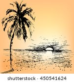 tropical landscape with palm... | Shutterstock .eps vector #450541624