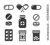 medical pills and bottles icons ... | Shutterstock .eps vector #450548833