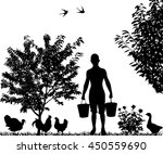 silhouette of young man with... | Shutterstock .eps vector #450559690