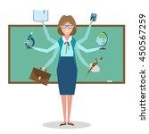 multitasking skillful teacher... | Shutterstock . vector #450567259