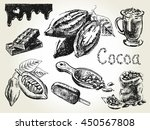 hand drawn set of cocoa... | Shutterstock .eps vector #450567808