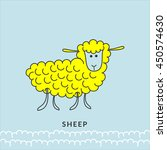 yellow cartoon sheep or ram or... | Shutterstock .eps vector #450574630