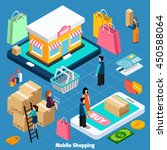 mobile shopping with related... | Shutterstock .eps vector #450588064